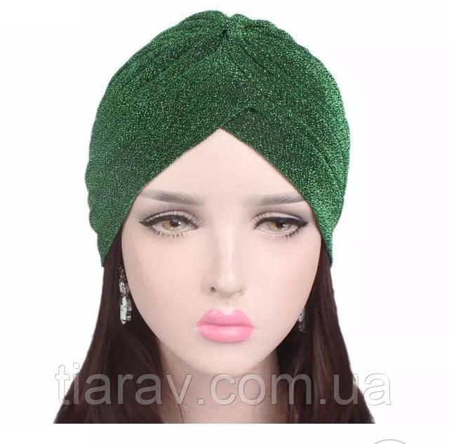 Шапка чалма женская, женский тюрбан зелёный
