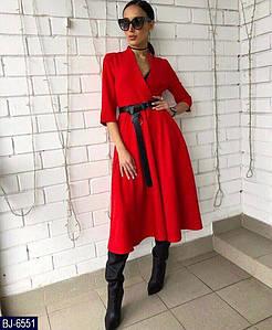 Женское стильное весенне-осеннее миди платье с карманами+пояс с кольцом в комплекте (креп костюмка) 3 цвет2