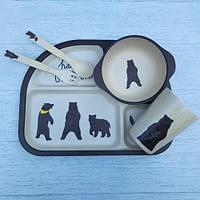 Бамбуковый набор детской посуды Ведмедь из 5 предметов, фото 1