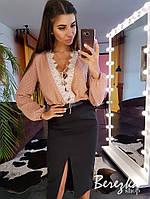 Костюм женский стильный блуза на шнуровке с кружевом и юбка миди с разрезом Ks1080, фото 1