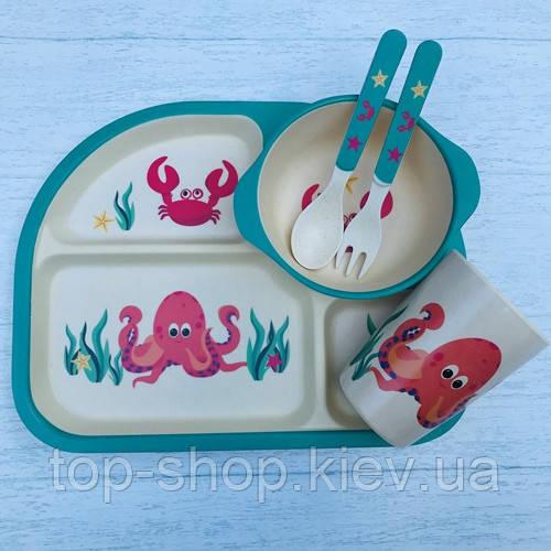 Бамбуковий набір дитячого посуду Краб з 5 предметів