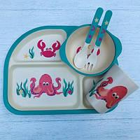 Бамбуковий набір дитячого посуду Краб з 5 предметів, фото 1