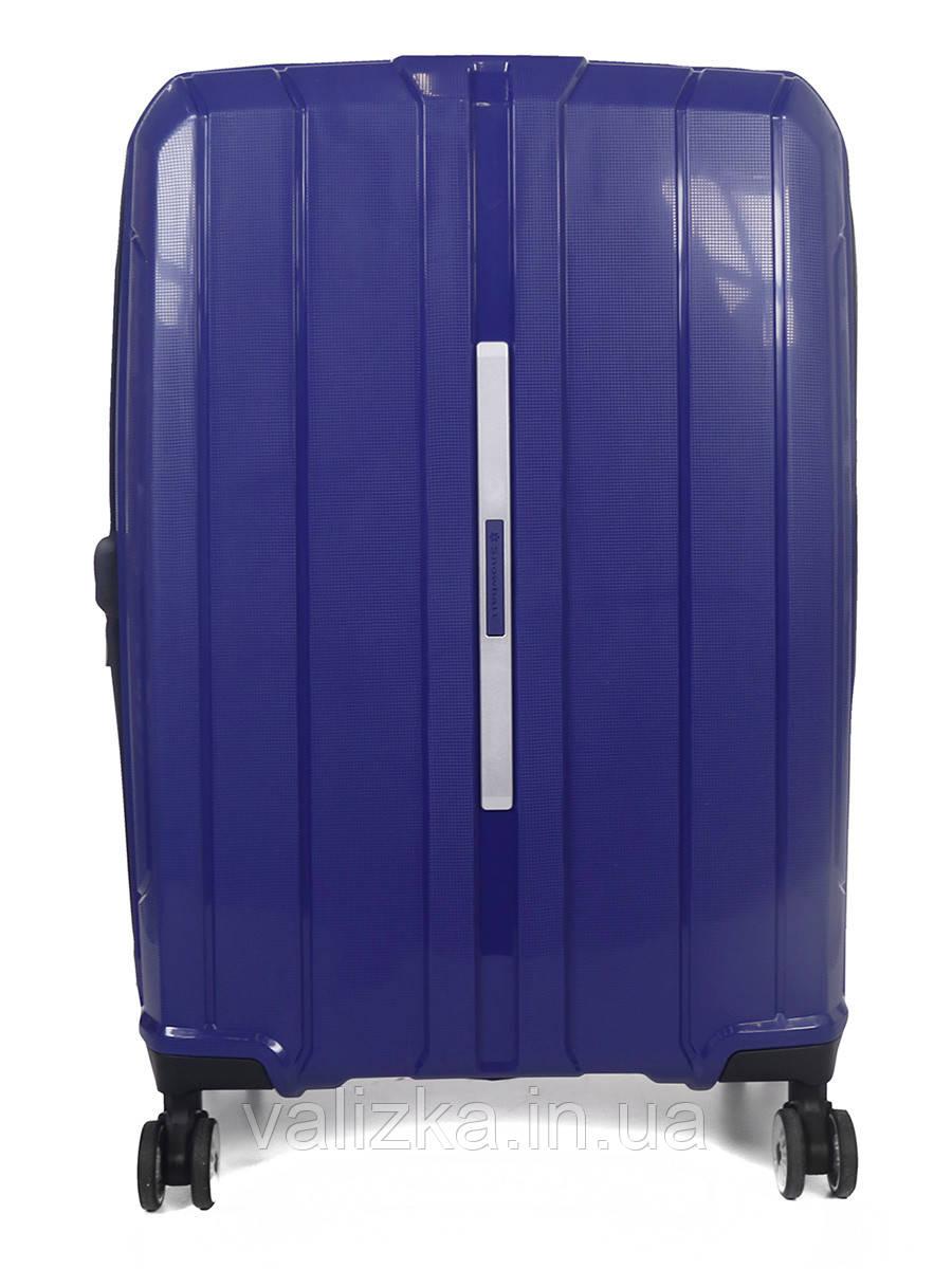 Средний чемодан пластиковый из полипропилена Snowball на молнии синий