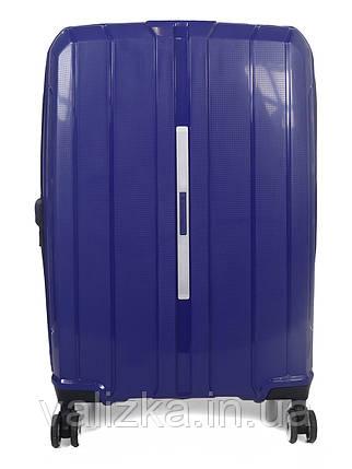 Средний чемодан пластиковый из полипропилена Snowball на молнии синий, фото 2