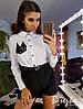 Костюм женский стильный рубашка с акцентом карман и высокие шорты Ds1713