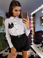 Костюм женский стильный рубашка с акцентом карман и высокие шорты Ds1713, фото 1