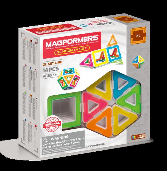 Магнитный конструктор Magformers Neon XL, 14 элементов (оригинал)