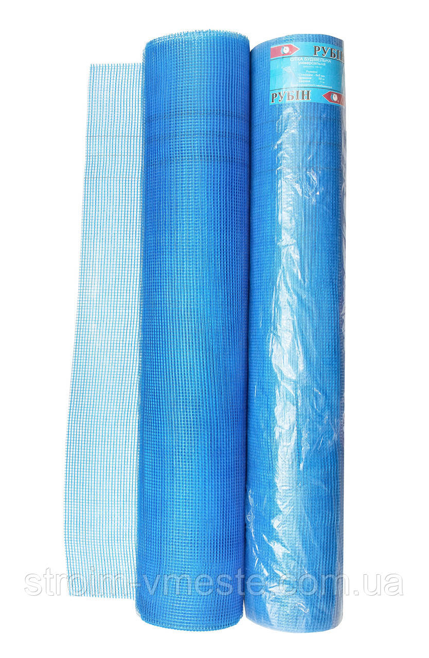 Сетка для штукатурки синяя RUBIN 50 м ячейка 10 х 10 мм x 100 гр м²