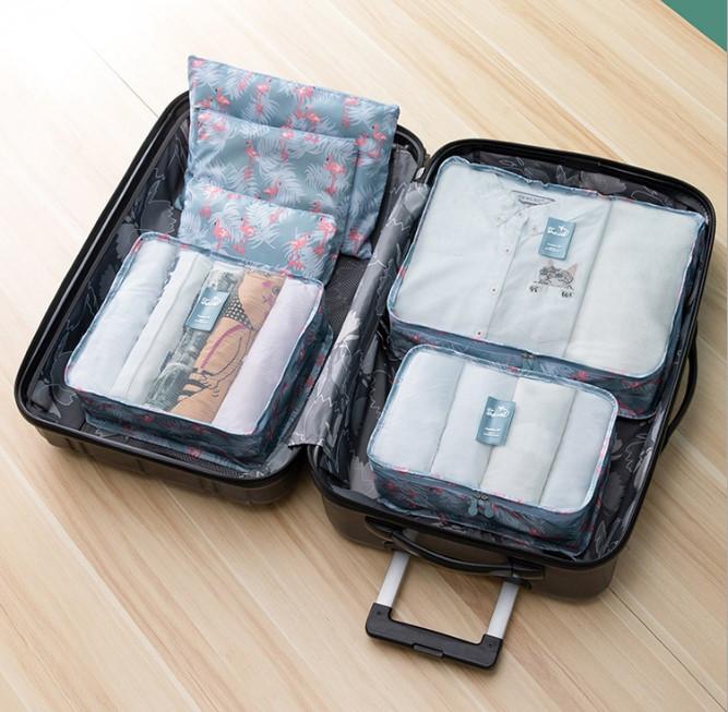 Набір дорожніх сумок для подорожі з 6 штук фламінго
