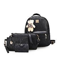 Комплект 4-в-1 с мягкой игрушкой съемной рюкзак сумка клатч визитница черный кожа PU., фото 1