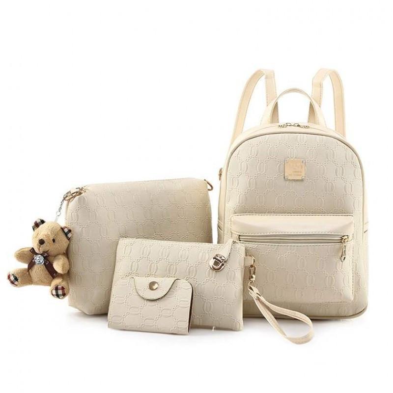 Комплект 4-в-1 с мягкой игрушкой съемной-рюкзак сумка клатч визитница кожа PU.