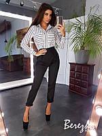 Костюм женский стильный офисный рубашка в полоску и высокие брюки Ds1715, фото 1