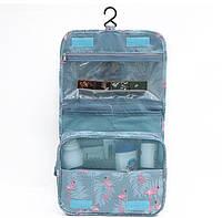 Дорожная сумка-органайзер для косметики подвесная на крючке Фламинго, фото 1