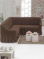 Чехол на угловой диван шоколадный Турция