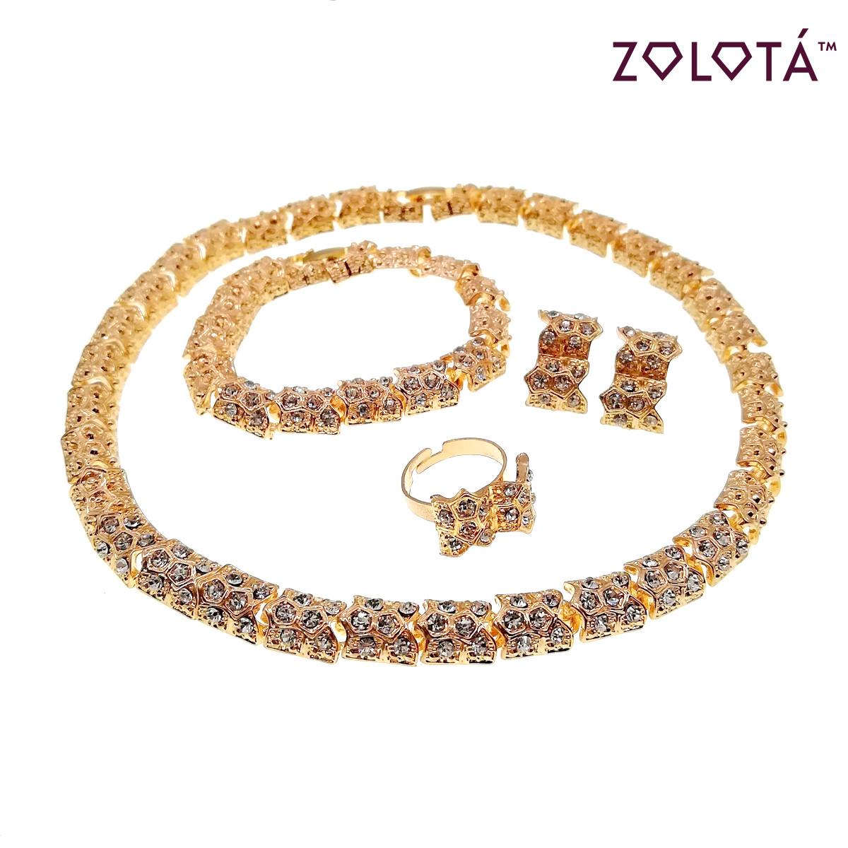 Комплект (Колье + браслет + серьги + кольцо) с белыми фианитами (куб. цирконием), в позолоте, НБ00359 (1)
