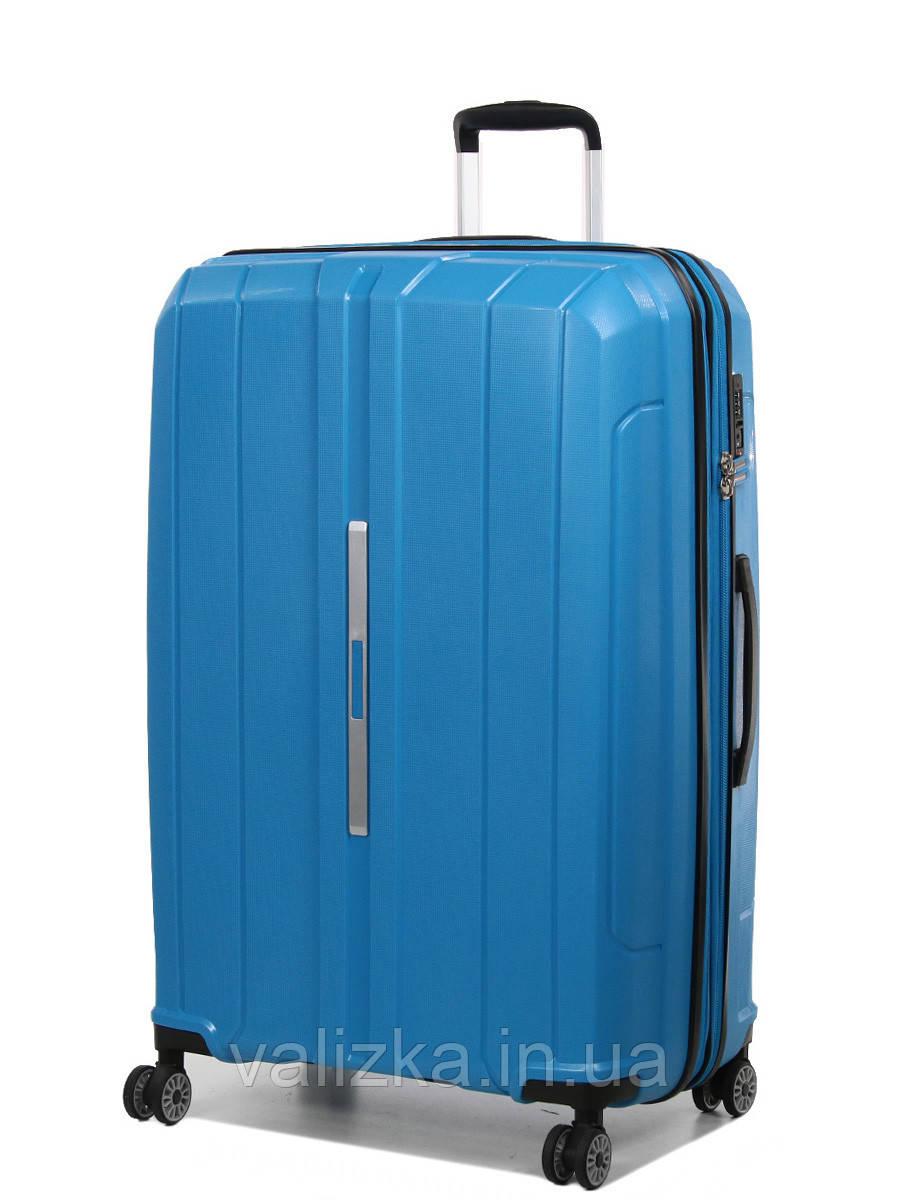Большой чемодан пластиковый из полипропилена Snowball на молнии светло-синий