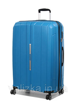 Большой чемодан пластиковый из полипропилена Snowball на молнии светло-синий, фото 2