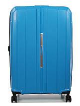 Большой чемодан пластиковый из полипропилена Snowball на молнии светло-синий, фото 3