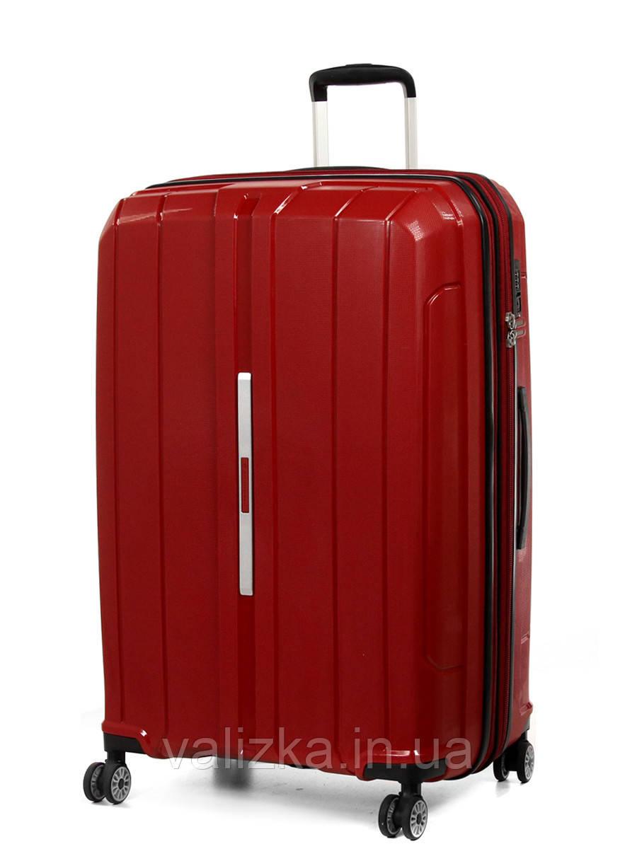 Большой чемодан пластиковый из полипропилена Snowball на молнии красный