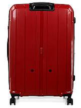 Большой чемодан пластиковый из полипропилена Snowball на молнии красный, фото 3