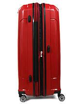 Большой чемодан пластиковый из полипропилена Snowball на молнии красный, фото 2