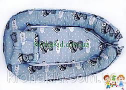"""Детский кокон / гнездышко / позиционер """"Тедди серый"""" для новорожденных с ортопедической подушкой"""