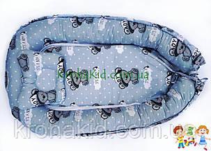 """Дитячий кокон / гніздечко / позиціонер """"Тедді сірий"""" для новонароджених з ортопедичною подушкою, фото 2"""