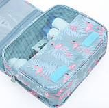 Дорожная сумка-органайзер для косметики подвесная на крючке Фламинго, фото 4
