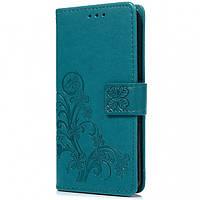 Кожаный чехол (книжка) Four-leaf Clover с визитницей для Asus Zenfone 4 Max (ZC554KL)