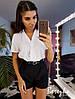 Костюм женский модный рубашка и высокие шорты Ds1717