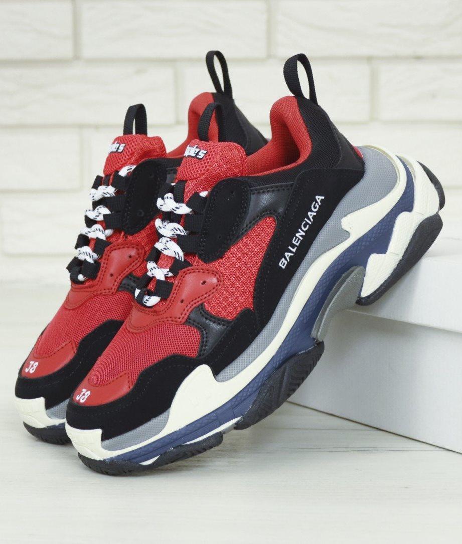 Мужские кроссовки Balenciaga Triple S Red, Многослойная подошва