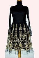 Платье черное.Вышивка на юбке.(36-44) Турция!