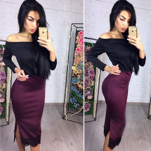 Платье футляр открытые плечи + кружево
