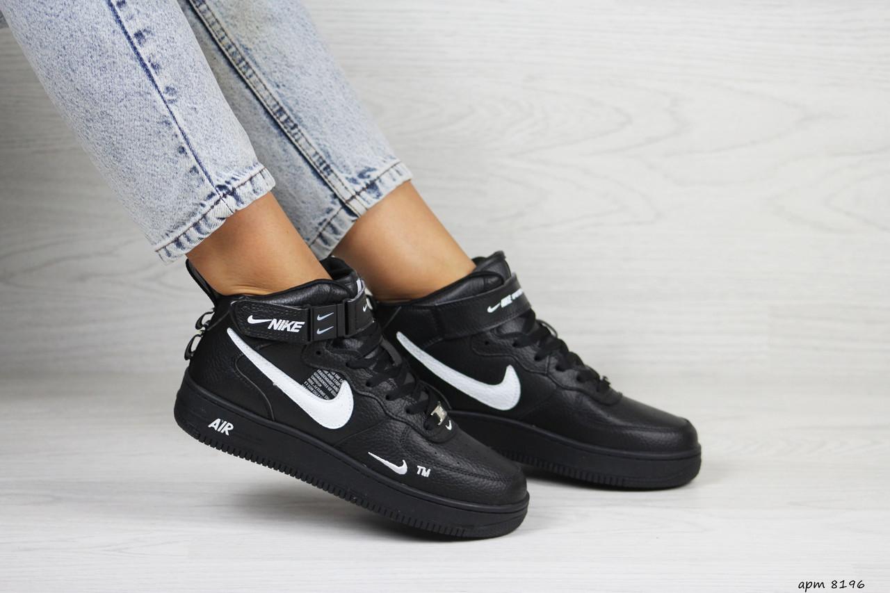 Высокие подростковые,женские кроссовки Nike air force 1,черные
