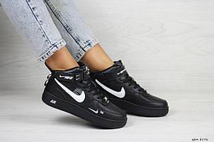 Высокие подростковые,женские кроссовки Nike air force 1,черные, фото 2
