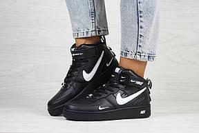 Високі підліткові,жіночі кросівки Nike air force 1,чорні, фото 2