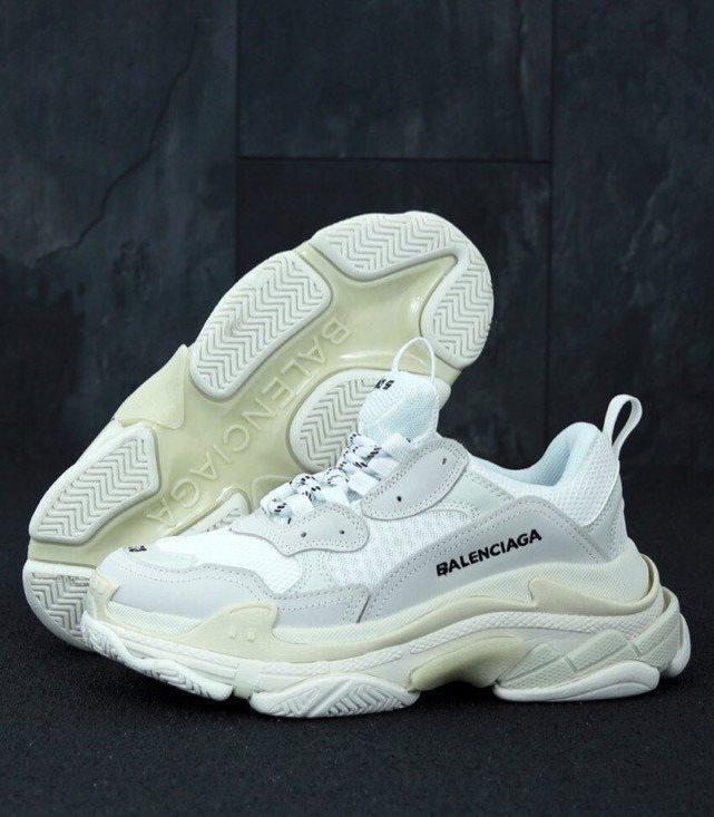 Женские кроссовки Balenciaga Triple S White Многослойная подошва