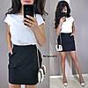 Костюм женский красивый блуза и юбка мини разные цвета Kmk1083