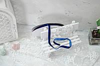 Бархатная лента 1 см. синяя