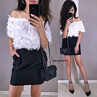 Костюм женский красивый нежная блуза ресничка и юбка мини разные цвета Kmk1085, фото 1
