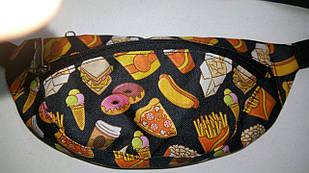 Сумка-бананкачерного цветас моднымпринтом