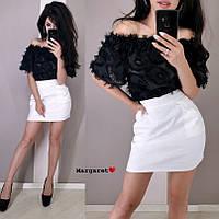 Костюм женский романтичный нежная блуза ресничка и юбка в горошек мини разные цвета Kmk1087, фото 1