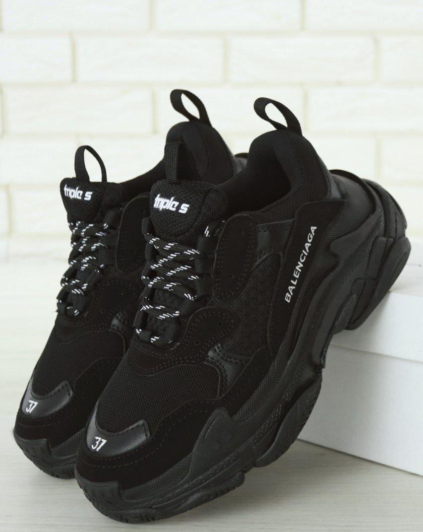 Мужские кроссовки Balenciaga Triple S Black Многослойная подошва (Баленсиага Трипл С черные)