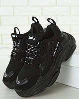 Женские кроссовки Balenciaga Triple S Black Многослойная подошва (Баленсиага Трипл С черные)