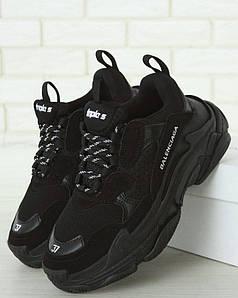 Женские кроссовки Balenciaga Triple S Black Многослойная подошва