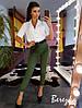 Костюм женский стильный блуза на пуговицах и брюки с поясом разные цвета Ds1718