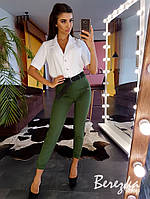Костюм женский стильный блуза на пуговицах и брюки с поясом разные цвета Ds1718, фото 1