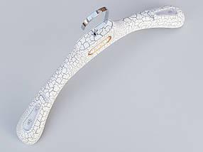 Плечики вешалки тремпеля шубный под кожу белого цвета, длина 39 см, фото 2