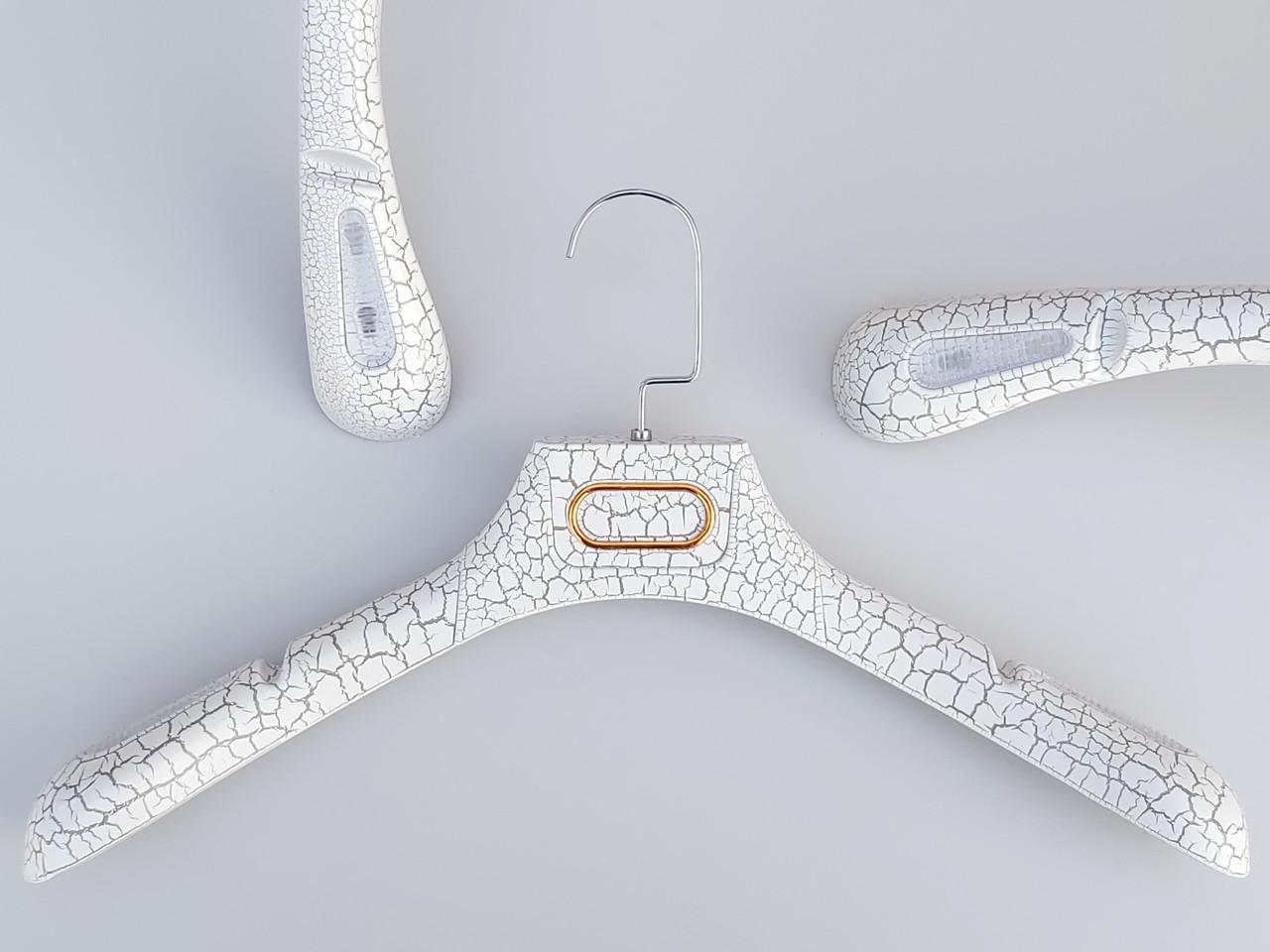 Плечики вешалки тремпеля шубный под кожу белого цвета, длина 39 см