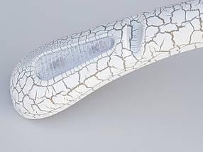 Плечики вешалки тремпеля шубный под кожу белого цвета, длина 39 см, фото 3